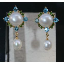 boucles d'oreilles perles de culture, topazes et diopsides