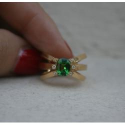 bague grenat tsavorite et diamants