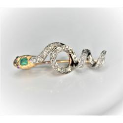 diamond and emerald snake brooch