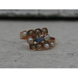 Bague ancienne saphir et perles