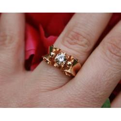 Bague rétro or et diamant