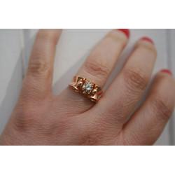 bague tank en or jaune et diamant
