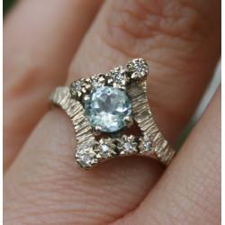 bague aigue marine et diamants vintage