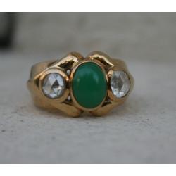 Chevalière jade diamants